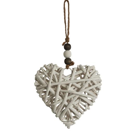 Small White Wicker Hanging Heart