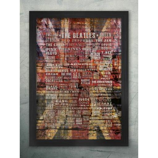 Brit Pop Music A2 Framed Poster Print