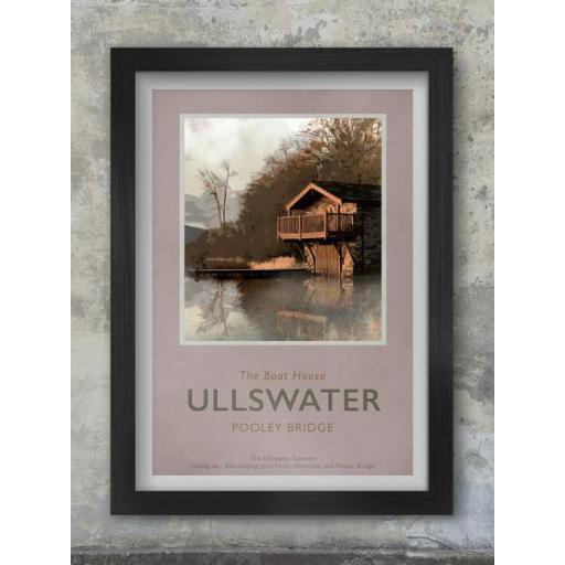 Framed Retro A3 Size Ullswater Print