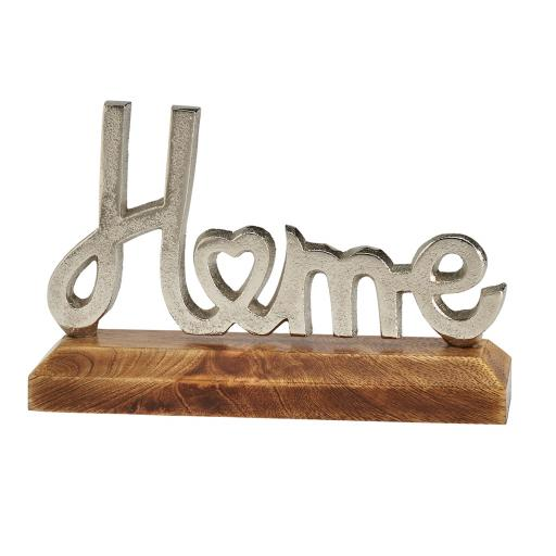 Metal Home Sign On Wooden Base