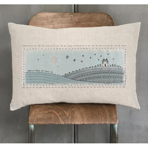 East Of India Embroidered Cushion Home Is Where The Heart Is