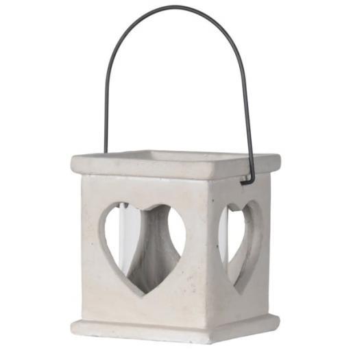 Concrete Heart Design Candle Lantern