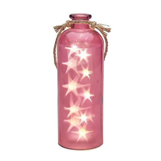 Giant LED Star Lights In A Fuchsia Bottle