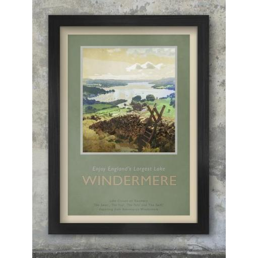 Framed A3 Size Retro Print Of Windermere