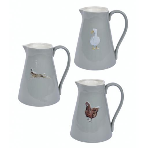 Animal Design Stoneware Jug