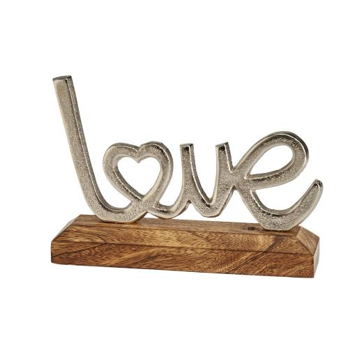 Metal Love Sign On Wooden Base