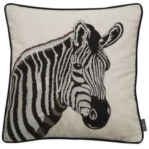 Embroidered Zebra Cushion.