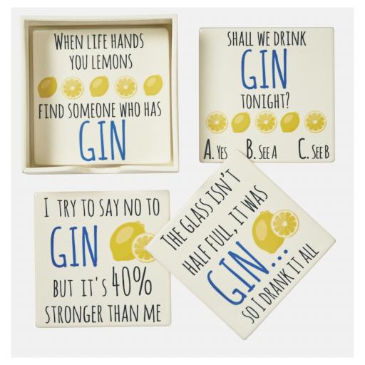 Set Of 4 Gin Drinks Coasters