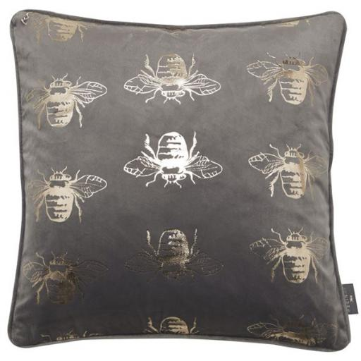 Juniper Jasper Bee Foil Pattern Velvet Cushion