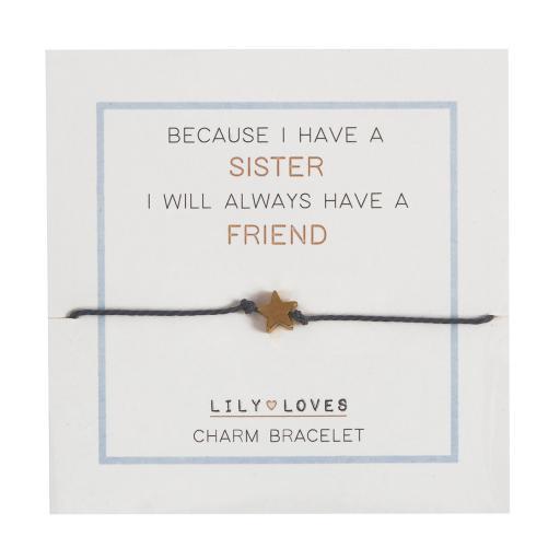 Lily Loves Sister Heart Charm Bracelet