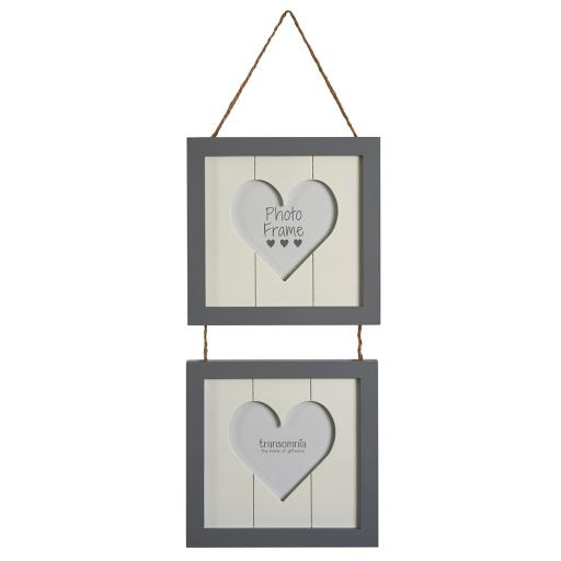 Double Hanging Heart Photo Frame