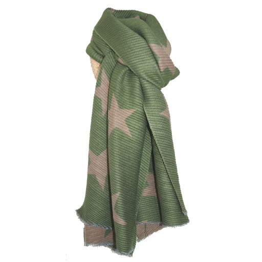 Pleated Green Stars Reversible Scarf By Lua
