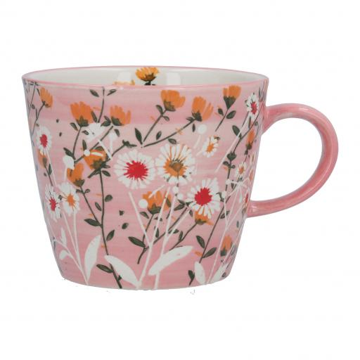 Pink Wild Daisy Design Mug by Gisela Graham