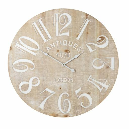 Large Wooden Clock With White Numerals & Washed Finished