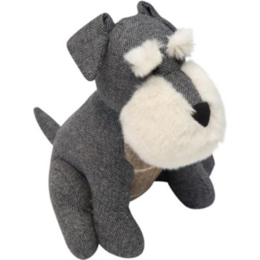 Scruff The Schnauzer Doorstop In Herringbone Fabric