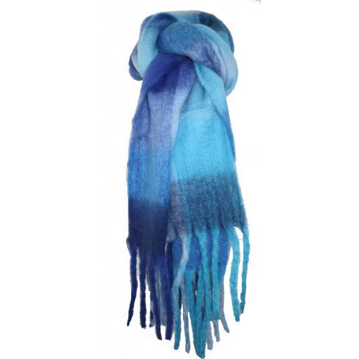 Colourful Blue Tartan Scarf By Lua