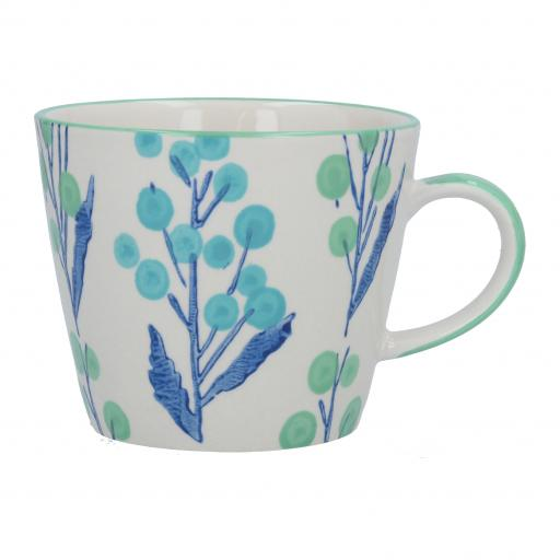 Blue Wattle Design Mug by Gisela Graham