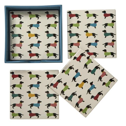 Set Of 4 Dotty Dachshund Ceramic Coasters