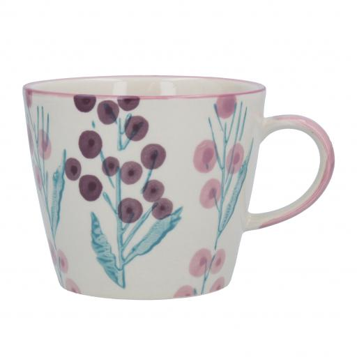 Purple Wattle Design Mug by Gisela Graham