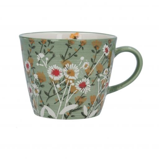 Green Wild Daisy Design Mug by Gisela Graham
