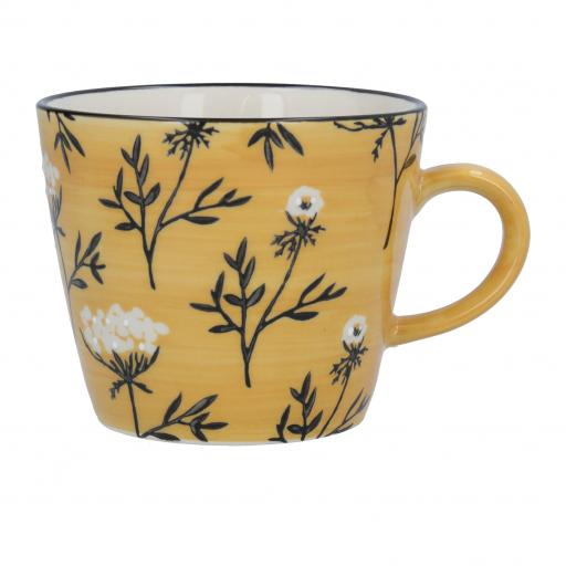 Mustard Cow Parsley Design Mug by Gisela Graham