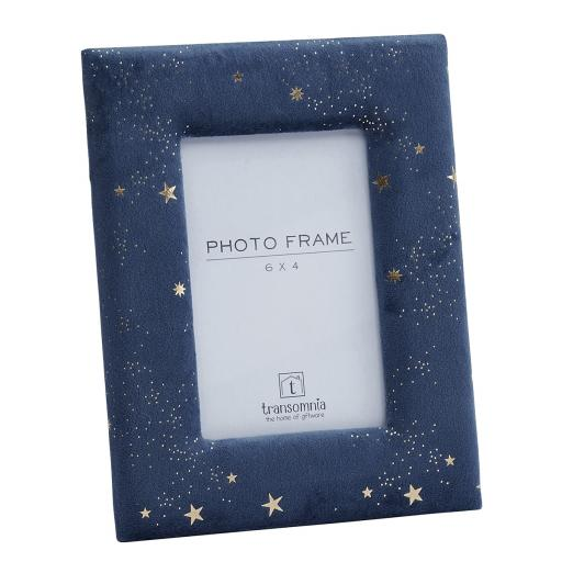 Faux Velvet Blue Photo Frame With Inlaid Stars