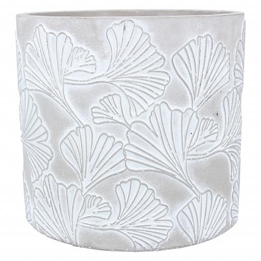 Stone Effect Two Tone Ginkgo Design Large Plant Pot