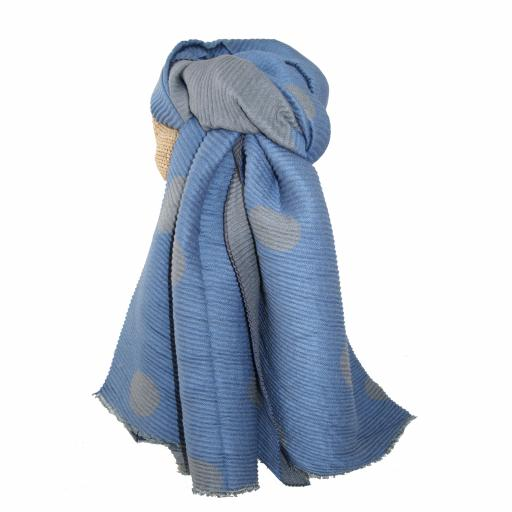 Pleated Blue Large Dots Reversible Scarf By Lua