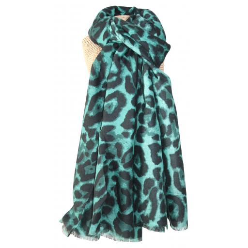 Green Leopard Print Scarf by Lua