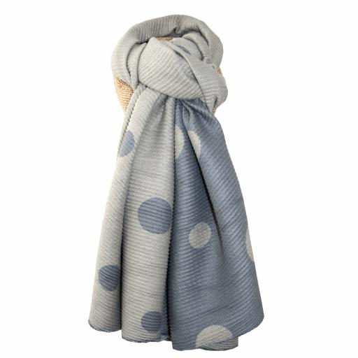 Pleated Natural Large Dots Reversible Scarf By Lua