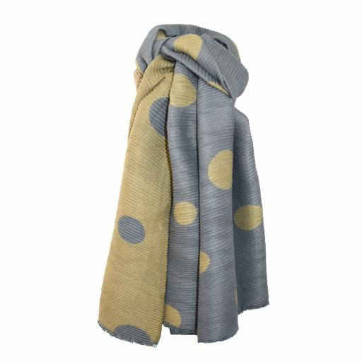 Pleated Mustard Large Dots Reversible Scarf By Lua