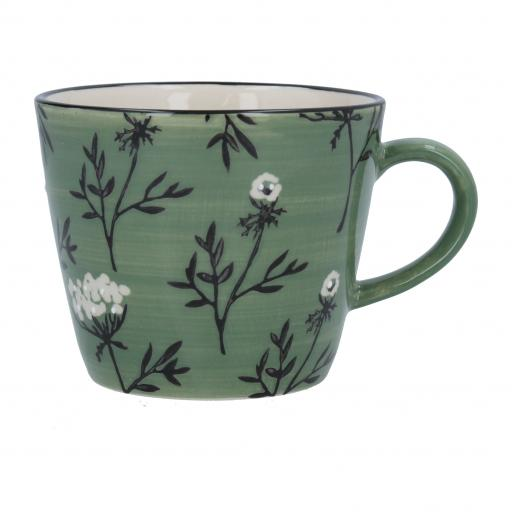 Green Cow Parsley Design Mug by Gisela Graham