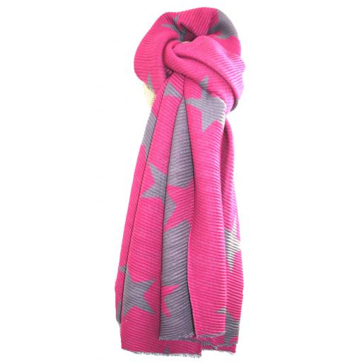 Pleated Pink Stars Reversible Scarf By Lua