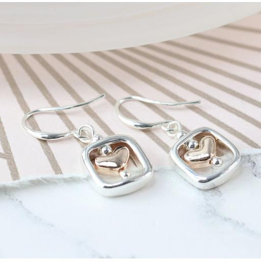 Peace Of Mind Rose Gold Heart & Silver Plated Square Earrings