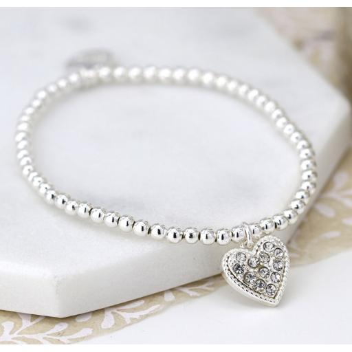 Peace Of Mind Silver plated bracelet with crystal inset heart