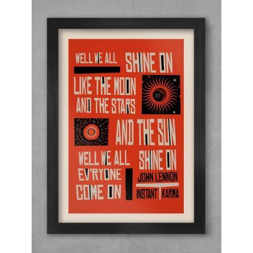 John Lennon A3 Framed Lyrics Of The Chorus Of Instant Karma