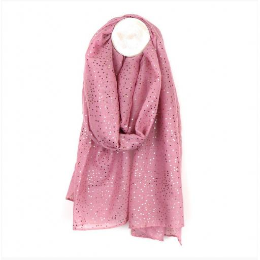 Pink Scarf With Rose Gold Dotty Print