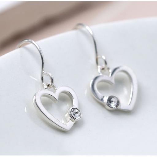Peace Of Mind Sterling Silver And Crystal Heart Earrings