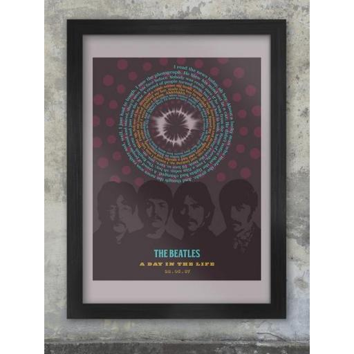 The Beatles A3 Framed Lyrics Of A Day In The Life