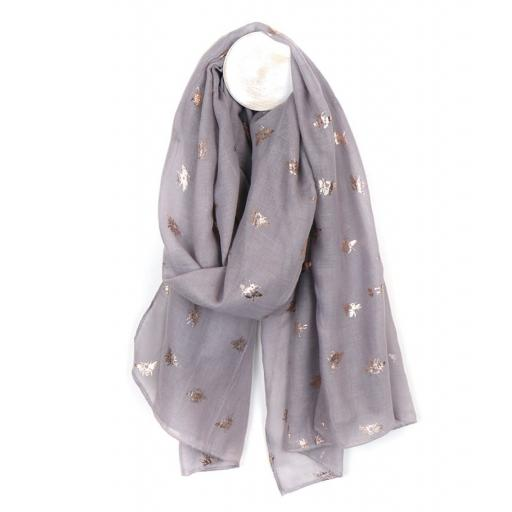 Grey Scarf With Silver Bee Print