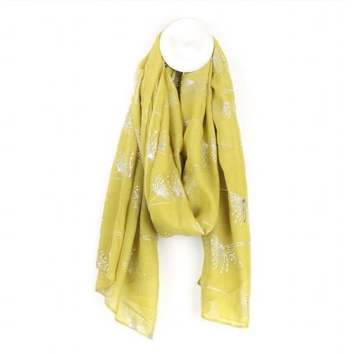 Yellow Scarf With Silver Dandelion Print