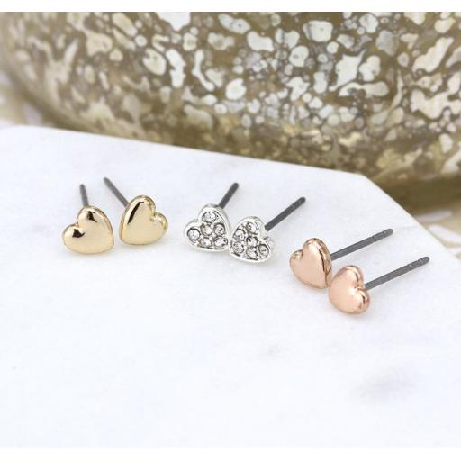 Peace Of Mind Triple Heart Rose Gold, Silver And Crystal Earring Set