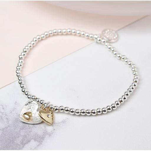 Peace Of Mind Silver And Gold Plated Double Heart Bracelet