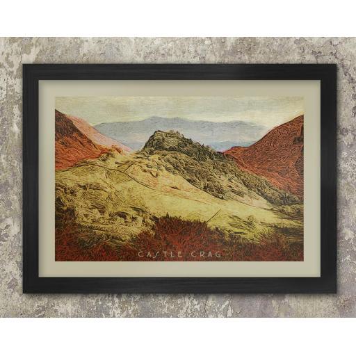 Framed A3 Size Castle Crag Print