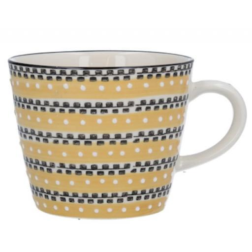 Mustard Track Design Mug by Gisela Graham