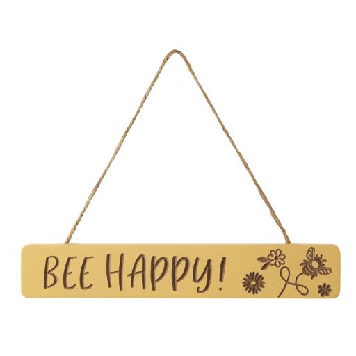 Etched Bee Happy Sign