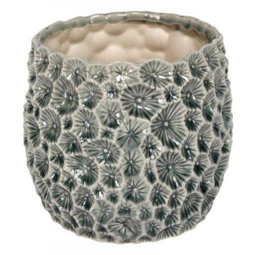 Grey Crater Design Plant Pot
