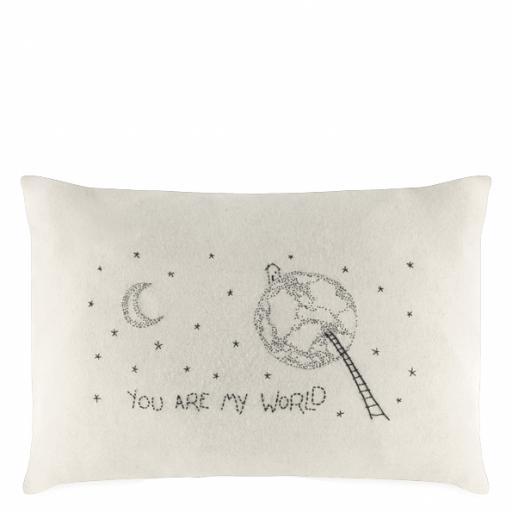 Handmade You Are My World Wool Cushion