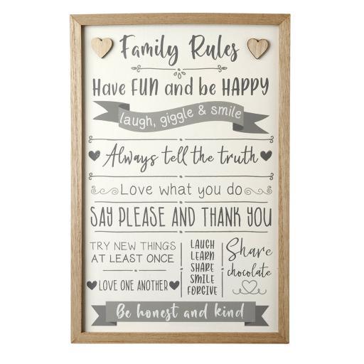 Framed Family Rules Sign