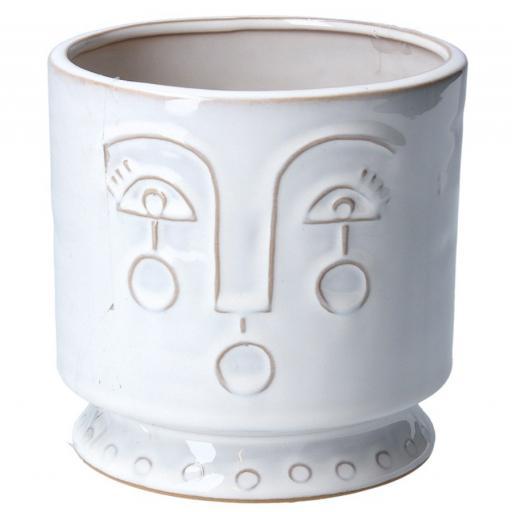 Large Aztec Style Face Plant Pot.
